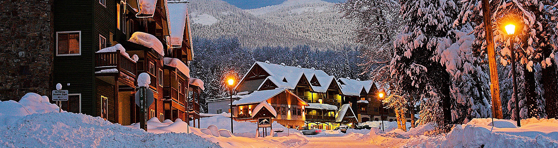 Red Mountain Village at night in Rossland BC